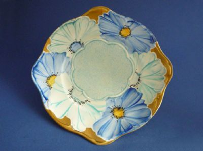 Lovely Gray's Pottery Art Deco Blue Floral Plate c1934